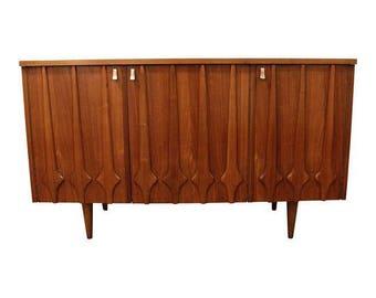 Mid-Century Credenza Danish Modern 3-Door Walnut Dresser/Credenza #145