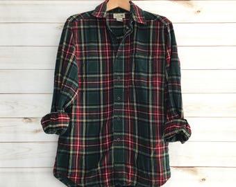 Vintage L.L Bean Red Tartan Plaid Flannel Shirt Mens Small