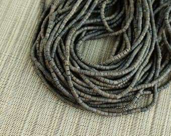 3-4mm Dark Gray Grey Coconut Shell Heishi Beads - Dyed and Waxed - 23 inch strand