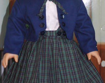 American Girl Style Suit in Blue and Green Plaid