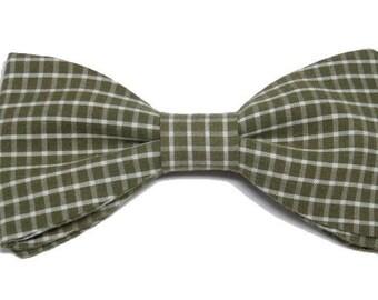 Cream khaki Plaid bowtie with straight edges