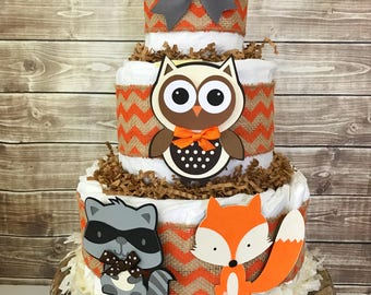 Forest Friends Fall Diaper Cake, Woodland Baby Shower Centerpiece