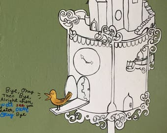 Bird house cuckoo clock painting