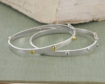 ON SALE NOW Silver Bangle, Open Bangle, Screw Bangle, Statement Bangle, Screw Bracelet, Gold And Silver Bangle, Clasp Bangle, Silver Bracele