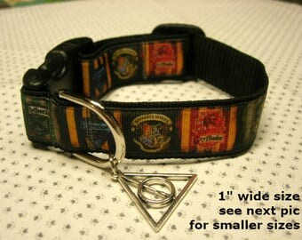 NEW Harry Potter Inspired SMALLER sizes adjustable dog & cat collars with Death Hallows charm Leashes, key fobs also available