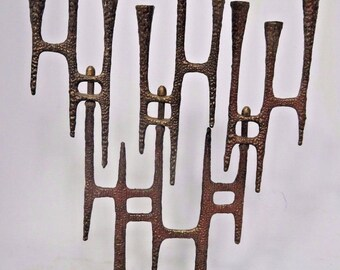 Wainberg Brutalist Brass Menorah Made in Israel Chanukah Jerusalem 1950s Vtg