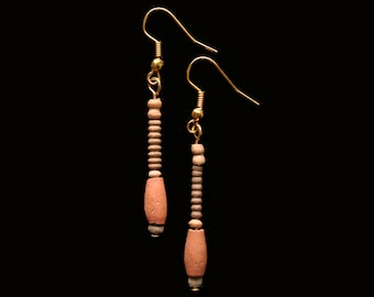 Ancient Egyptian Coptic Terracotta Bead Earrings with 24ct gold plated fittings, Jewelry,