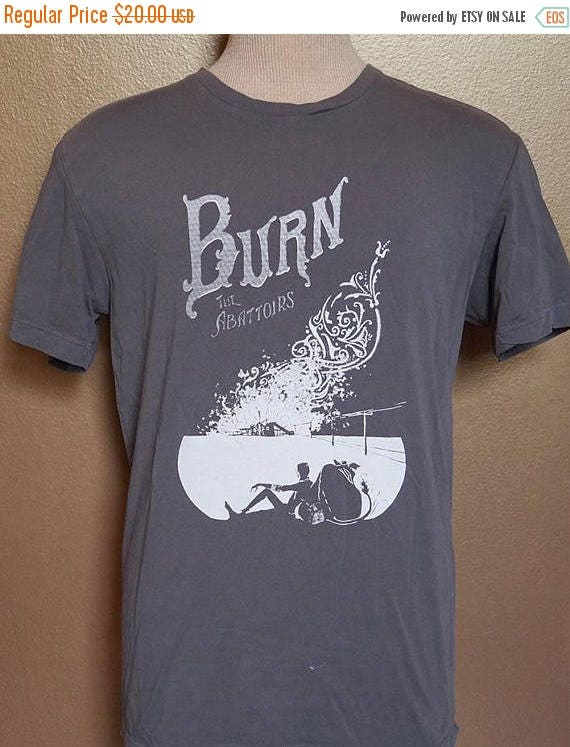 """ON SALE Small """"Burn the Abattoirs"""" Tee, White Ink on Gray"""