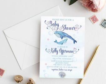 Whale Baby Shower Invitation, Marine Baby Shower Invitation, Printable Baby Shower Invitation, Underwater Baby Shower Invitation, Ocean Baby