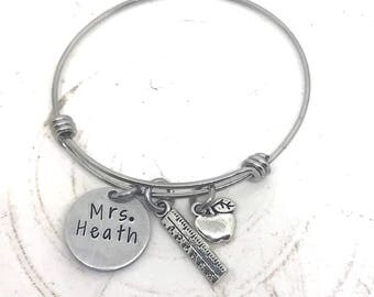 Teacher Personalized Gift-Adjustable Bangle Bracelet-End of year Teacher Gift-Teacher Christmas Gift