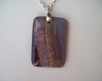"""Purple Chalcedony Lace Oblong pendant with chain 2"""" long"""