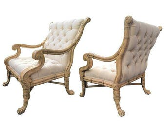 Pair of Maitland Smith Bamboo Claw Foot Chairs
