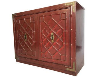 Vintage Huntley By Thomasville Faux Bamboo Chinoiserie Two Door Cabinet