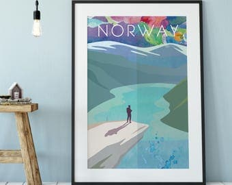 Norway Print, Art Print of Norway, Norway Poster, Norway Print, Norway Wall Art, Norwegian Art, Norway Gifts, Norway Decor, Digital Print.