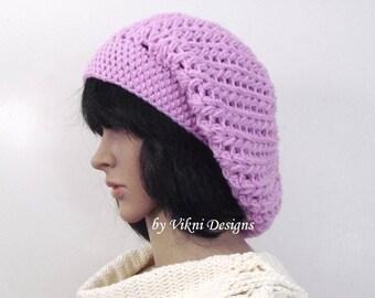 Lavender Crochet Winter Women Slouchy Beanie Hat by Vikni Designs