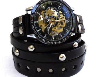 Leather Wrap Watch, Steampunk Watch,  Black Leather Watch, Men's Wrap watch, Gift, Mechanical Watch