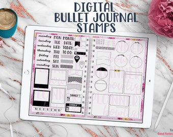 Digital Bullet Journal Stamps for Digital Planner or DigiBujo with Working Tabs