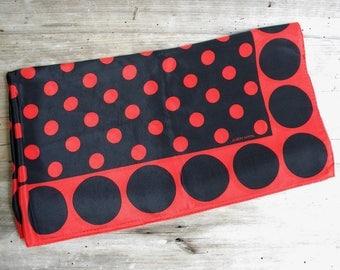 Vintage Albert Nipon Red & Black Scarf / Mod Black and Red Polka Dots / Albert Nipon / Red Black Scarf / Square Scarf