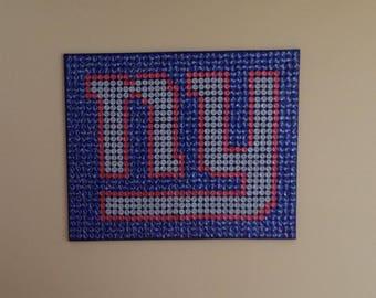 New York Giants Recycled Bottle Cap Art