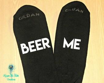 Beer Me Socks - If You Can Read This - Beer Socks - Funny Socks - Bring Me Beer - Gift for Dad - Husband Gift - Novelty Socks - Novelty Gift