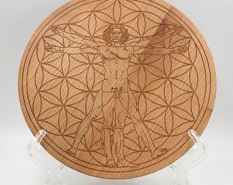 "Vitruvian Man in Flower of Life 8.5"" Crystal Grid Board - Sacred Geometry Cherry Crystal Healing Grid - Engraved Geometrical Grid Board"