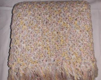 Linen Look crocheted shawl, 550 mm wide 2000 mm long plus tassels