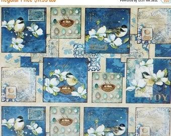 Clearance SALE Feather Your Nest~Birds Panel~Cotton Fabric, Quilt,~Wilmington Prints~33778-241~Fast Shipping,N286