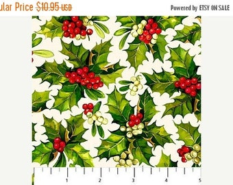 Summer Sale- Home for the Holidays~Holly and Berries~Christmas Cotton Fabric by~Northcott~Fast Shipping HC292