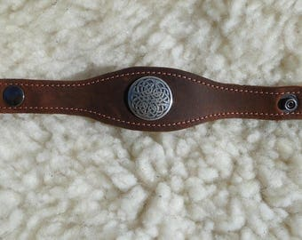 Bracelet 100% leather Brown copper jewelry