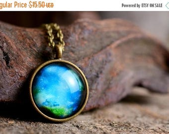 20% OFF Galaxy necklace, nebula necklace, space necklace, crescent moon jewelry, blue necklace, astronomical necklace, cosmos necklace