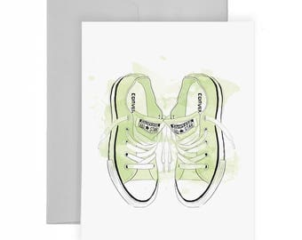 Sneaker Love - Greeting Card, Fashion Illustration, Fashion Card, Just Because Card, Sneaker Card, Art Card, Stationery, Green Shoes