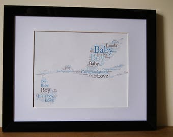Personalised Word Art Print New Baby Birth Boy Girl celebration gift card Frame