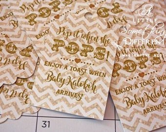 Gold Mini Champagne Bottle Tags /Gold Glitter Gender Neutral / Baby Shower Mini Champagne Bottle Tags /  Welcome Baby / Arrival Tags