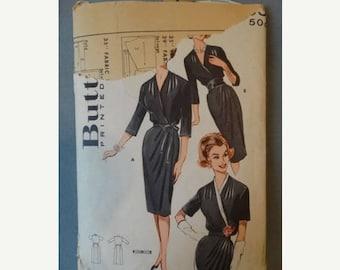 On Sale 1960s Butterick #9203 Cross Over Bust Wrap Dress Pattern 42 Bust