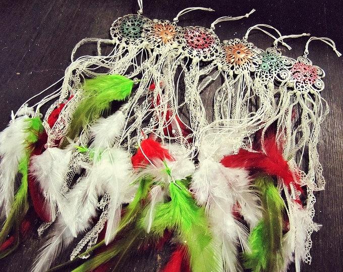 Dreamcatchers Christmas Tree Decor - Boho Christmas Ornaments - Mini Dream Catcher Decoration - Gypsy Home Decor - Rustic Christmas Toys