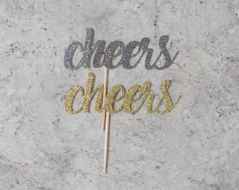Cheers cupcake toppers; Holiday cupcake toppers