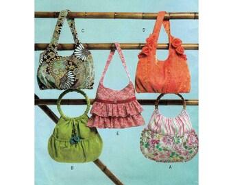 Women's Handbag, Purse with Ruffles, Flower Embellishments, Round Handles, Sewing Pattern UNCUT Butterick B4822
