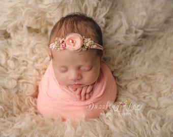 PEACH- newborn headband, Photography prop, Newborn halo, Flower headband, Baby headband, Newborn photo prop, Newborn tieback
