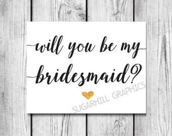 Will You Be My Bridesmaid Card, Printable Bridesmaid Card, Be My Bridesmaid Card, Bridesmaid Invite, Instant Download