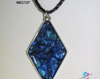 Summer Sale Wispy Blue Diamond Handmade Stained Glass Mosaic Necklace under resin NEC137