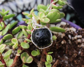 Black Lava Ball Sterling Silver Wire Wrapped Diffuser Necklace Gemstone Necklace