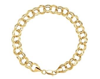 Charm Bracelet 14kt Solid Yellow Gold Bracelet, Gold Double Link Bracelet