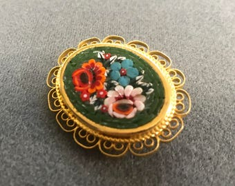 Italian Micromosaic Brooch with Flowers. Free shipping.