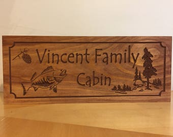 Wood Carved Cabin Signs Family Last Name Welcome Signs Pine Tree PineCone Bass Fish carved Sign Wooden Carved Fathers Day Fishing Hunting