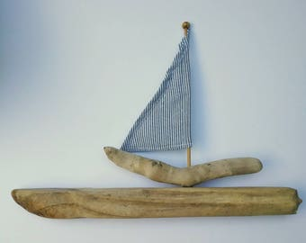 Driftwood Boat Ornament with Blue & White Recycled Fabric Sail