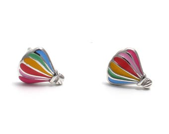 Hot air balloon earrings 925 sterling silver