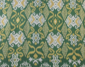 Handwoven Cotton Ikat, Green, Yellow, Gray/White; Yardage