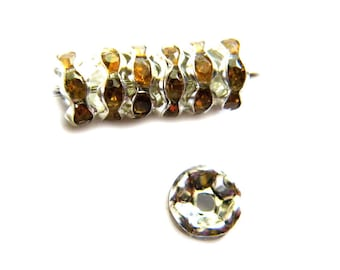 10 8mm Amber Crystal Rondelle Spacer Beads