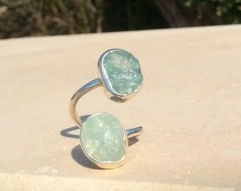 Raw Aquamarine Two Stone Silver Ring, Dual Gemstone Ring, Adjustable Aquamarine Ring, Double Raw Stone Ring, Rough Stone Ring