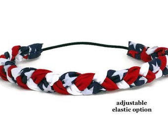 Red White and Blue Headband American Patriotic Headband, Braided Boho Headband, July 4th Hippie Headband for men women girls babies